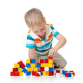 Child boy playing toy blocks Royalty Free Stock Images