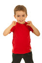 Child boy pointing to his t-shirt Royalty Free Stock Photo