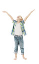 Child boy raise open hands up isolated white back background arms to put product here Stock Photo