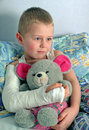 Child with broken arm in plaster Royalty Free Stock Photo