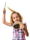 Child Brushing Hair Isolated W...