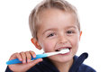 Child brushing teeth boy with toothbrush at bedtime concept for dental care Royalty Free Stock Photography