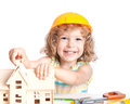 Child building house Royalty Free Stock Photo