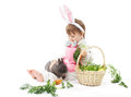 Child in bunny hare costume holding rabbit and carrot white background Stock Image