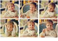 Child in cafe Stock Photo