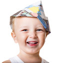 Child with carpenter hat Royalty Free Stock Image