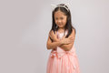 Child with Cat Ear Headband, Isolated on White Royalty Free Stock Photo