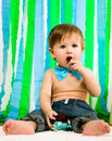 Child is celebrating his first birthday Royalty Free Stock Photo