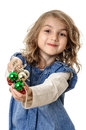 Child christmas decorations little beautiful girl with in hands isolated on white Royalty Free Stock Photos