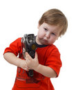 Child and cinema camera Stock Image