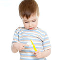 Child cleaning teeth isolated on white background Stock Photography