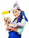 Child cooking at kitchen wearing hat and apron Royalty Free Stock Photo