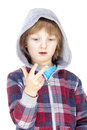 Child counting on fingers boy with blond hair of his hand isolated white Royalty Free Stock Photos