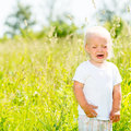 Child crying is on the nature toddler screaming stands ar green field Royalty Free Stock Photography