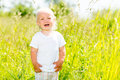 Child crying is on the nature toddler screaming stands ar green field Royalty Free Stock Photo