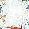 Child desk with sketch and drawings background illustration Royalty Free Stock Photography