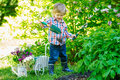 Child digging in the garden Royalty Free Stock Photo
