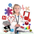 Child Doctor with Academic Career on White Royalty Free Stock Photos