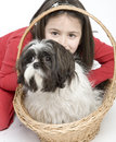 image photo : Child with dog pet