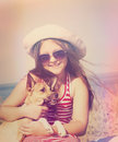 Child and dog and sea instagram Royalty Free Stock Image