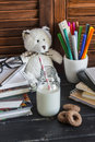 Child domestic work space and accessories for training and education - books, journals, notepads, notebooks, pens, pencils, tablet Royalty Free Stock Photo