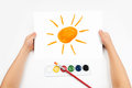 Child draw the sun watercolors draws Stock Photography