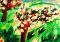 Child drawing of apple tree garten  in bloom. Royalty Free Stock Photo