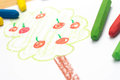 Child drawing, apple tree  , selective focus Royalty Free Stock Photo