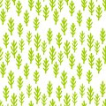 Child drawing cute plants, grass seamless pattern. Green fairy forest branches background. Wallpaper print.