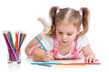Child drawing with pencils cute colorful Stock Image