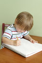 Child drawing or writing concept of preschool kids education and art Royalty Free Stock Image