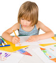 Child draws Royalty Free Stock Images