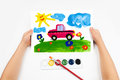 Child draws the car watercolors Stock Photos