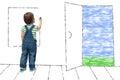 Child draws an imaginary window