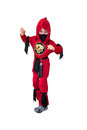 A child dressed in red ninja costume Royalty Free Stock Photography