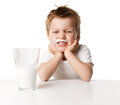 Child drinking milk image has attached release Stock Photos