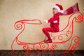 Child drive in imaginary santa sleigh happy kid claus christmas miracle concept Royalty Free Stock Photography