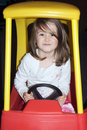 Child driving toy car Royalty Free Stock Photography