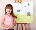 Child with easel in  preschool. Stock Images