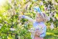 Image : Kids on Easter egg hunt in blooming garden. wind  lady