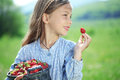 Child eating strawberries in a field Royalty Free Stock Photo