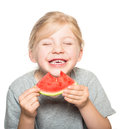 Child eating watermelon-2 Royalty Free Stock Photo