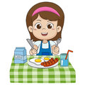 The child eats breakfast that can affect the growth of children