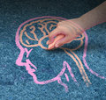 Child education children concept and school learning development with the hand of a drawing a human head and brain with chalk on a Stock Images