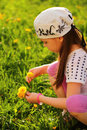 Child enjoying spring sunny day beautiful Stock Image