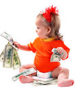 Child with euro money. Royalty Free Stock Photo