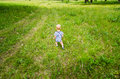 A child explore the nature little boy walking by green grass Stock Photography