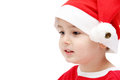 Child face with santa hat on white Stock Images