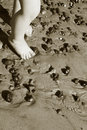 Child feet beach Royalty Free Stock Photos