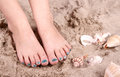 Child with feet in sand Stock Image